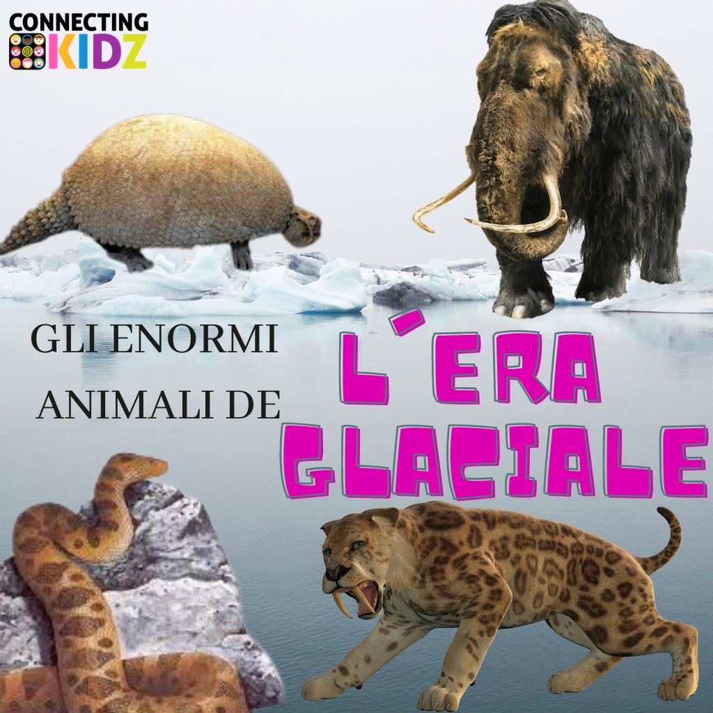 Gli enormi animali de l'Era Glaciale - disegna il rinoceronte lanoso e il gliptodonte